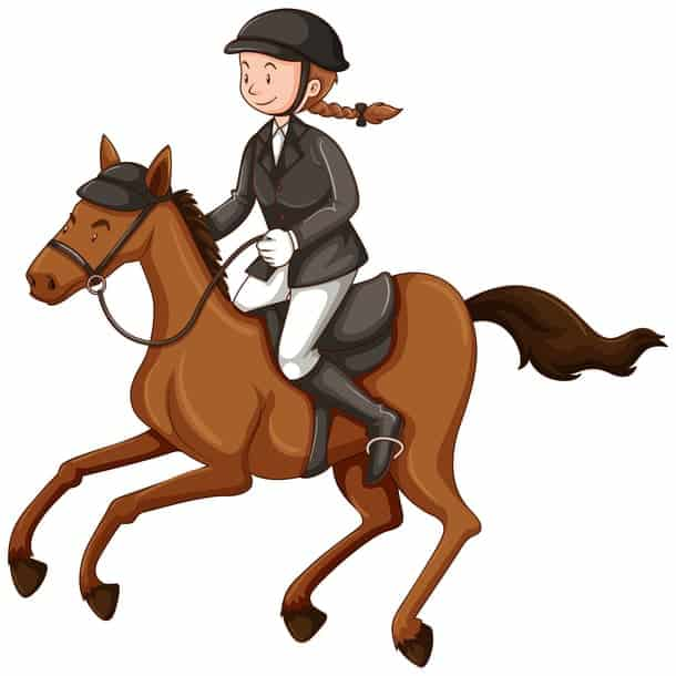 vector image of girl riding horse