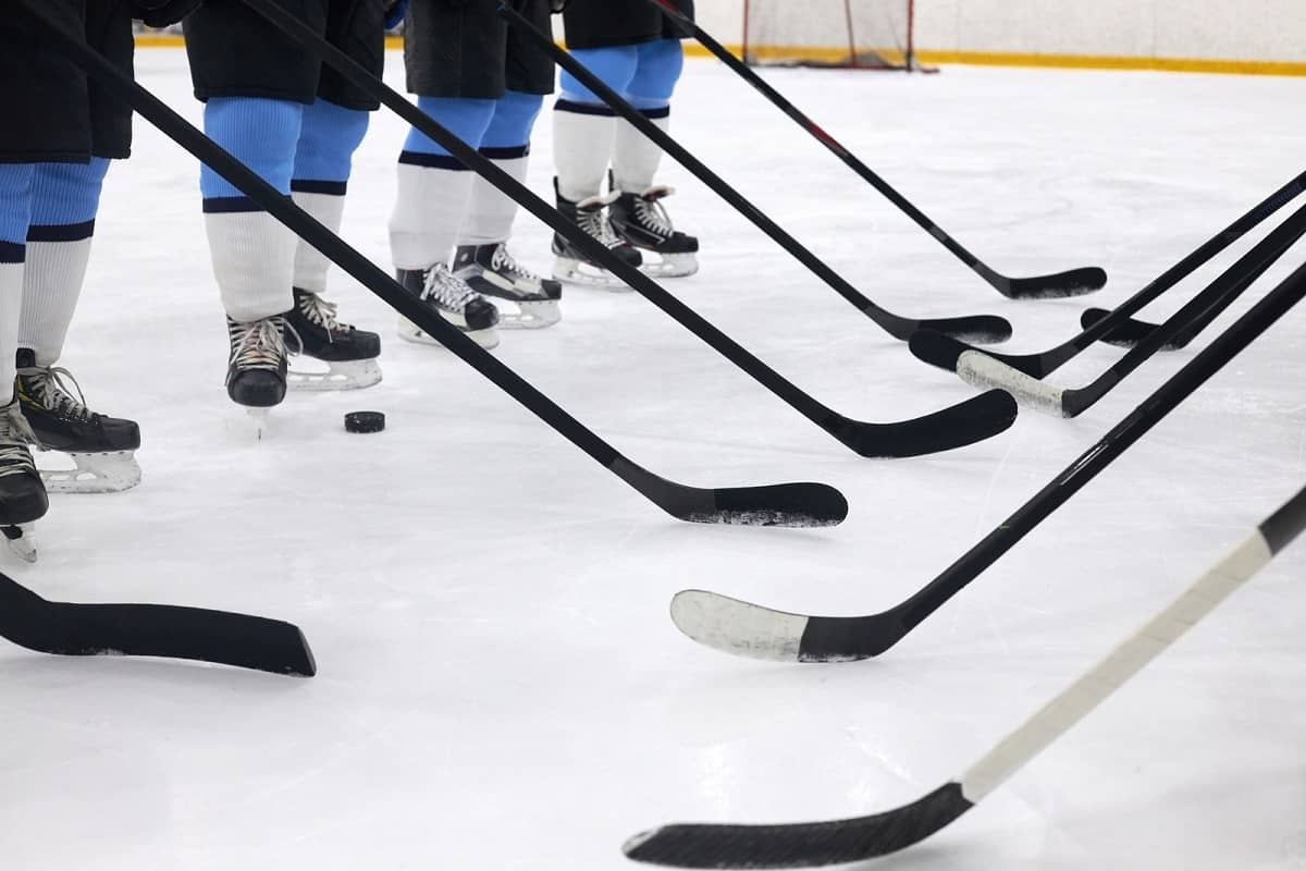 Ice hockey sticks of players lined up before game