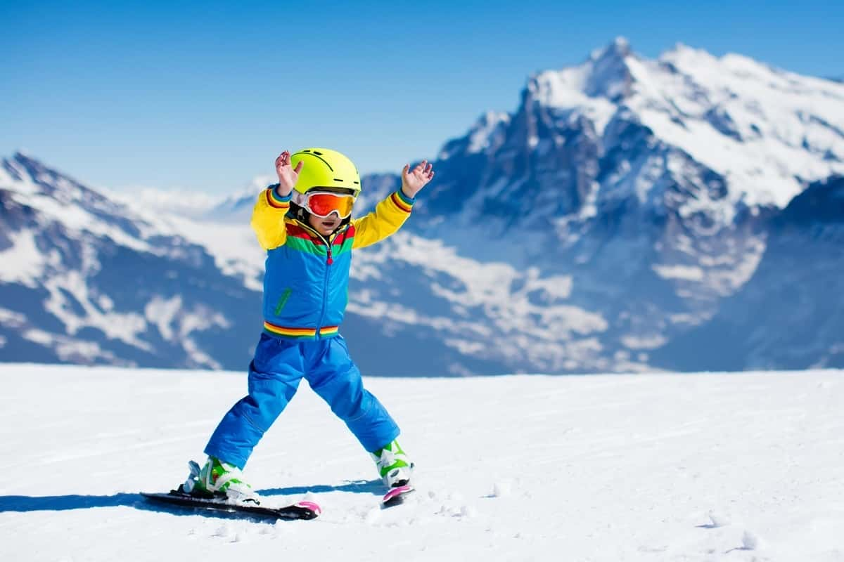 very young child learning to snow ski